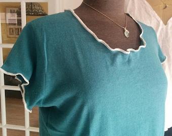 Hemp Organic Cotton Top. Women's Hemp Clothing. Organic Clothing. Teal. Size M. Ready to Ship