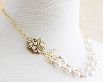 Gold Pearl Wedding Necklace Double Strand Wedding Necklace Vintage Bridal  Jewelry