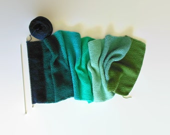 Green Blue Wool Color Block Scarf, Knit Shawl, One of a Kind, Hand Knitted Wool Long Statement Wrap Mens Womens Scarves, Blanket Huge Scarf