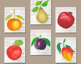 Watercolor Food KITCHEN Wall Art, Kitchen Pictures, Fruit Vegetables Kitchen Food Artwork, Home Set of 6 Canvas or Prints Decor