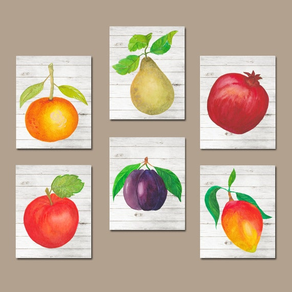 Purple Vegetable Wall Art: Watercolor Food KITCHEN Wall Art Kitchen Pictures Fruit