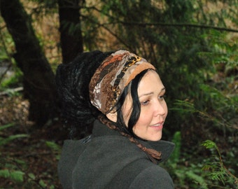 Interstellar Weave Headband, Brown Dreadband, Hippie Hair Wrap Intergalactic Apparel