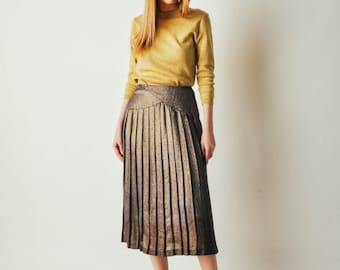 Vintage Purple Metallic Pleated Skirt