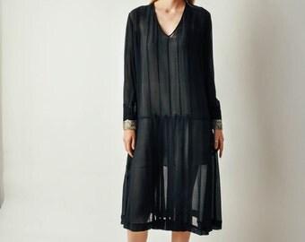 Vintage 1920s Black Sheer Dress