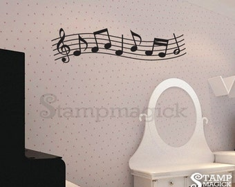 Music Wall Decal - Music Notes Vinyl Wall Art Decor Sticker - Music Staff - K142