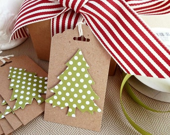 Handmade Christmas Tags - Christmas Gift Tags - Green Christmas Tree Tags - Holiday Tags, Favor Tags - Green And White Polka Dot Kraft Tags