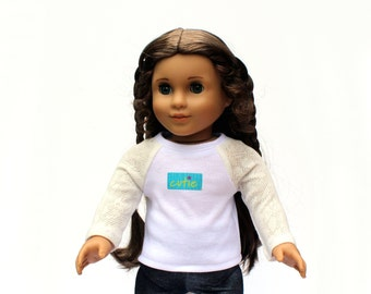 Fits like American Girl Doll Clothes - Cutie Pie Lace Raglan Tee and Cropped Jeggings
