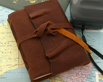 Rustic Handmade Travel Journal Brown Leather Journal Primitive Sketchbook Hand Sewn Rustic Leather Book Handmade in Texas
