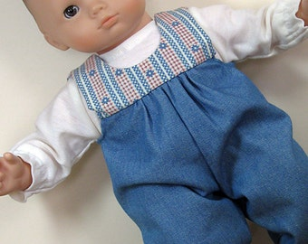 Bitty or Twin Doll Clothes - Denim Romper with Red, Blue and Ivory Yoke and Ivory Tee
