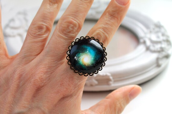 Galaxy ring  feminine yellow green black star night planet astronomy science large A