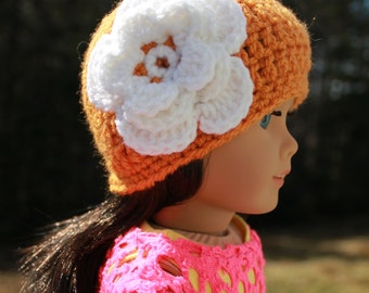 Upbeat Petites, crochet beanie hat with flower, crochet doll hat, 18 inch doll clothes,