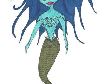 Mermaid ink illustration on paper