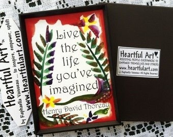 LIVE The LIFE You've Imagined THOREAU Inspirational Magnet Motivational Print Encourage College Student Heartful Art by Raphaella Vaisseau