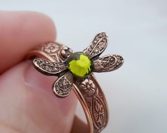 Dragonfly stackable ring, dragonfly ring dragonfly jewelry stacking ring, olive green Swarovski, antique brass adjustable ring, floral ring