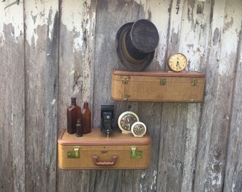 Pair of Wall Shelves Made from an Old Brown Tweed JC Higgens Suitcase Luggage Repurposed into Wall Shelves Shelf Travel Inspired