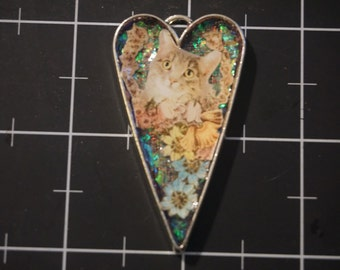 Floral Cat Collage Pendant, 50% goes to the charity of the month