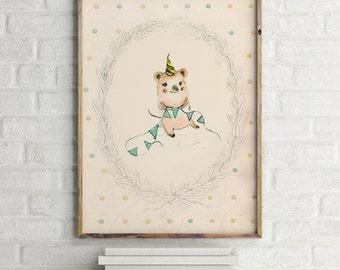 Happy Birthday II, Nursery Wall Art, kids room decor, nursery animals prints, nursery dogs, kids dogs, prints art kids, kids Wall Art