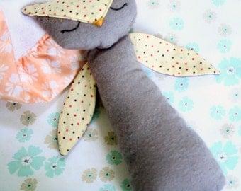 Sleepy Owl Soft Handmade Baby Rattle