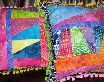 Gypsy Boho Patchwork Batik Pillow Cover 16 inch