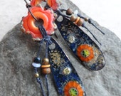Tangerine Blossom ... Colorful Copper Enameled Charms, Lampwork Flowers and Tassel Boho, Earthy, Woodland, Floral Earrings