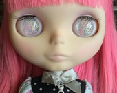 Pink and Blue Star Resin Eye Chips for Blythe Dolls - Iridescent with Glitter