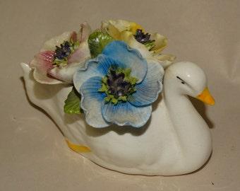 Bone China Porcelain Floral Swan Figure, Lea Florals, Flowers, Floral, Elegant Swan Figurine, White Swan