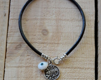 Recovery Solomon Seal & White Evil Eye Charm on Leather Bracelet