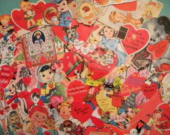 35 Vintage Valentine's Cards Crafters Lot #2