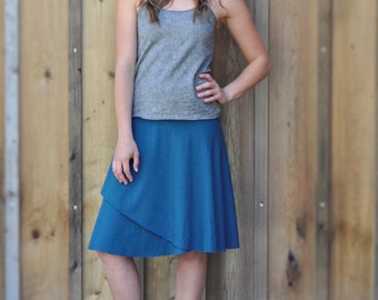 Clementine Skirt ~ Made to Order ~ Organic Cotton & Bamboo or Soy ~ Faux Wrap Style ~ Eco Fashion ~