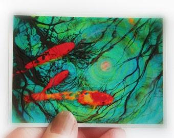Art, Moonlight swim, Aceo Original, miniature art, mixed media photo, Koi aceo, atc, blue decor, fish, #gina signore