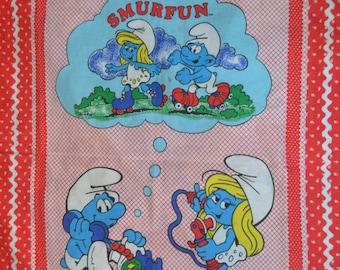 Vintage 80s Handmade Smurfs Blanket Baby Toddler Throw