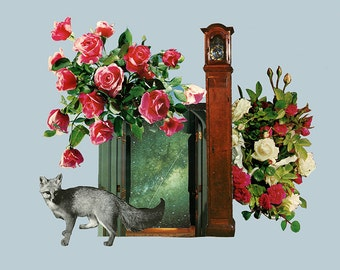 the fox at the door - limited edition 12X18 collage art giclee print - stage 14 from the limbo series