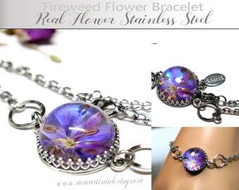 Fireweed Flower Bracelet Gift Ideas Alaska Wildflower Botanical Jewelry Dichroic Glass Flower Gift for Wife Girlfriend Stainless Steel