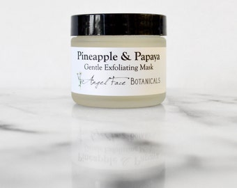Pineapple and Papaya Facial Mask - Organic Gentle Exfoliating Enzyme Face Mask with Soothing Chamomile and Comfrey for All Skin Types 4.4 oz