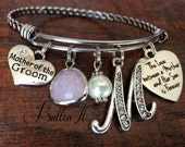Mother of the GROOM bracelet, Mom gift from groom, wedding keepsake, love between a mother and her son is forever, Mother of the BRIDE