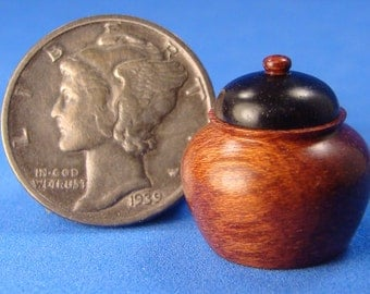 "1"" Scale Bloodwood & Madagascar Ebony Box - IGMA Fellow Helmer Lathe Turned"
