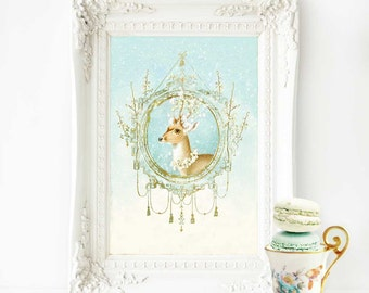 Deer, reindeer, print, vintage decor in blue and gold, A4 giclee