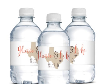 Wedding Water Bottle Labels, State Themed Wedding Labels, Waterproof Labels, Houston Wedding, Destination Wedding, Unique Wedding Favor, TX