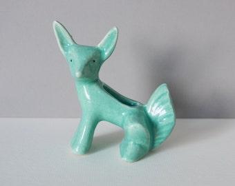 Vintage Turquoise Ceramic Fox Planter