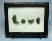 MOLDAVITE LOVE Tektite Meteorite Extrarerrestrial Writing Display With Genuine Impact Glass From Czech Republic Souvenir Card Gift Set