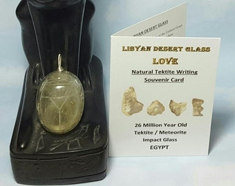 Rare SCARAB 17 Gram Libyan Desert Glass Tektite Meteorite Impact Glass Large Size Carving Pendant Sterling Silver Wire Wrapped Loop