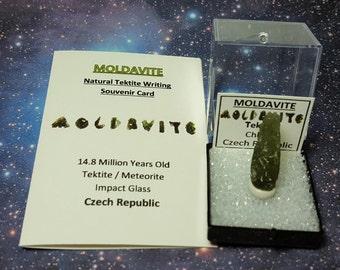 Sale MOLDAVITE Natural Drop Shape Tektite Meteorite Impact Glass In Perky Box With Moldavite Writing Souvenir Card