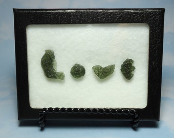 MOLDAVITE LOVE Tektite Meteorite Extrarerrestrial Writing Display With Genuine Impact Glass From Czech Republic Souvenir Card Gift Set