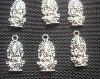 6 Ganesh Ganesha Elephant God Charms Silver Tone Metal