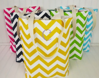 Bridesmaid Totes -  7 Small Chevron Beach Totes - Maid of Honor Gifts - Welcome Bags & Wedding Favors