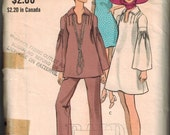 1970s Vogue 7842 Retro Mod tunic with pleats at shoulders and bell sleeves Sewing Pattern Vintage Size 10