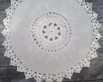 "Cotton Dark Linen Crochet and Knit Rug 30"" READY to SHIP"