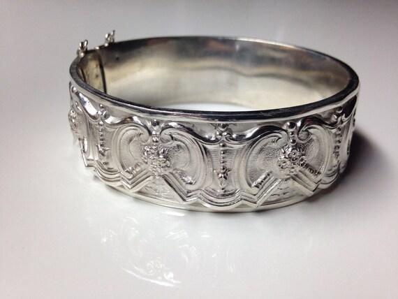 1960 Portugese Topazio Silver Panel Bracelet Antique