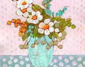 Framed Art Flower Bouquet, Floral Painting, Original Artwork, Daisies, 11X14 Eclectic Wildflowers