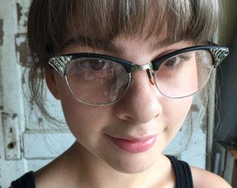 Vintage Cat Eye Glasses -  Black Rhinestone Bakelite Artcraft